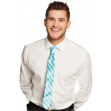 Cravate damier bleu et blanc pour la fêter de la bière appelée Oktoberfest