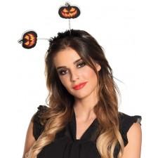Serre-tête Halloween avec antennes citrouilles adulte