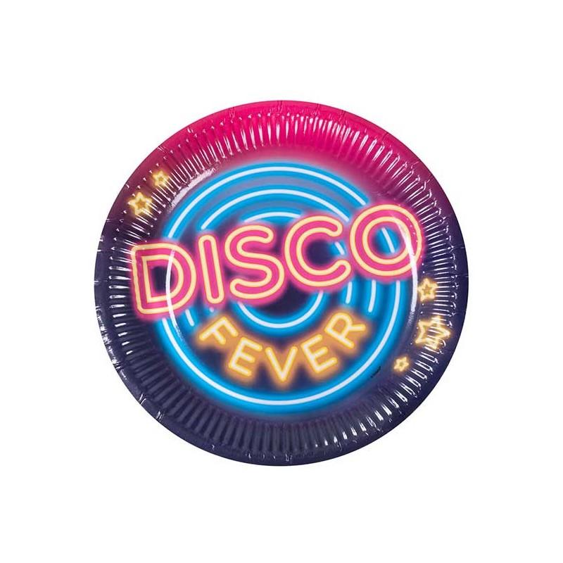 Assiettes en carton pour soirée sur le thème disco
