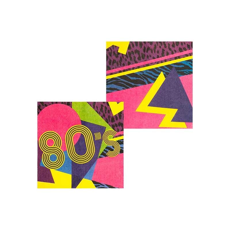 Serviettes en papier sur le thème des années 80