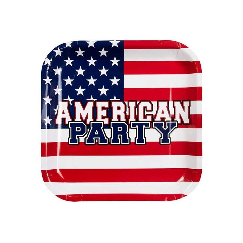 Assiettes carton sur le thème des USA