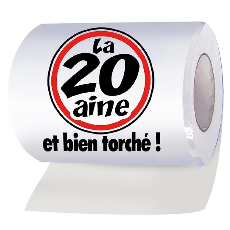 Rouleau de papier toilettes pour anniversaire 20 ans