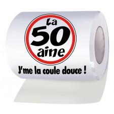 Rouleau de papier toilettes humoristique pour anniversaire 50 ans