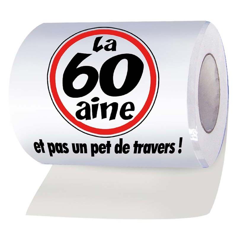 Papier wc en rouleau pour anniversaire 60 ans humoristique