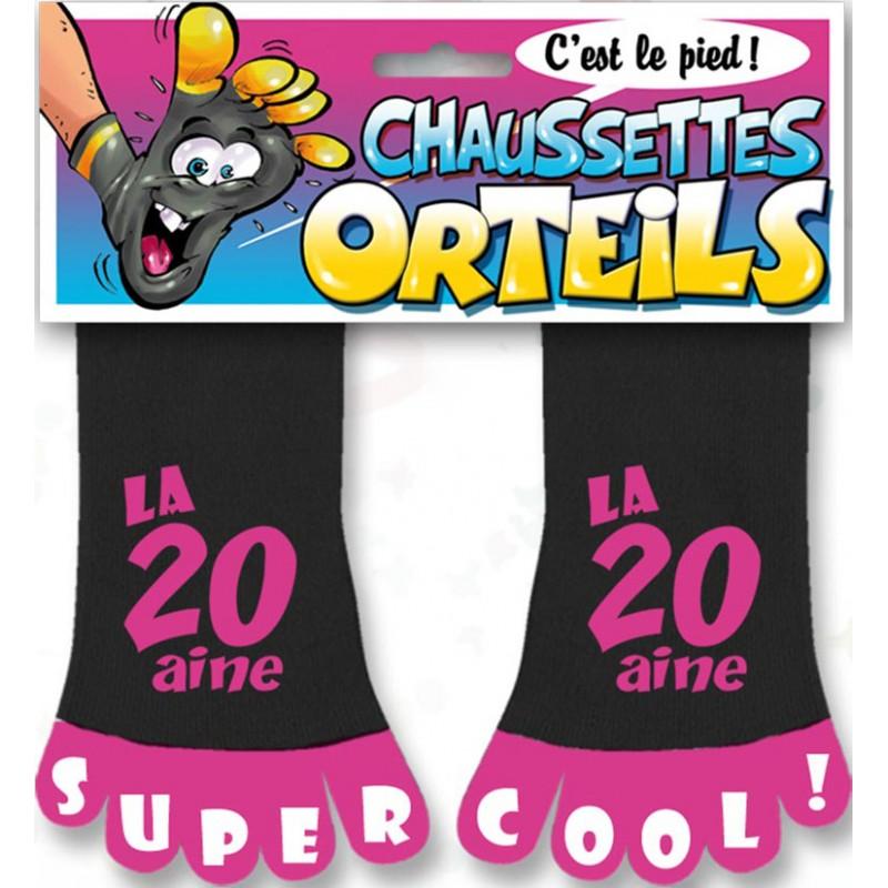 Chaussettes roses avec orteils pour anniversaire 20 ans