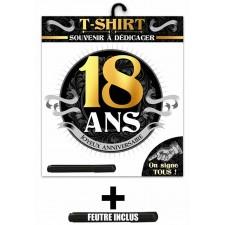 Tee-shirt noir et or 18 ans anniversaire avec feutre