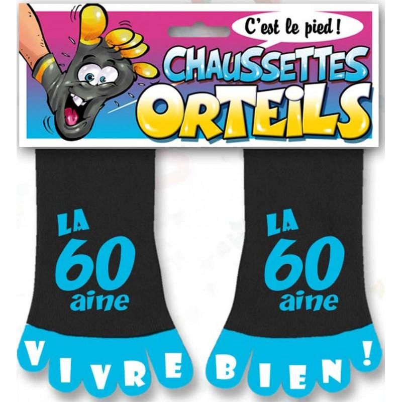Chaussettes bleues et noires pour anniversaire 60 ans